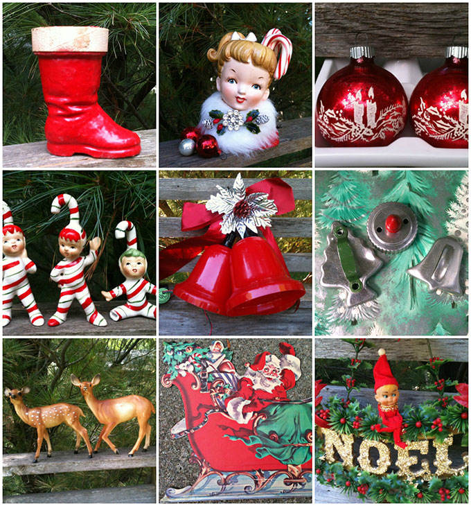 Vintage Christmas decor from Goat Cart, and etsy shop