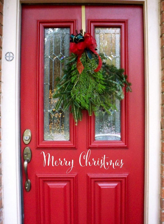 Merry Christmas viniyl door decal from It's Written In Vinyl on etsy