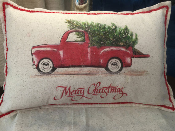 Red truck Christmas pillow from Jo' Elle's corner on etsy
