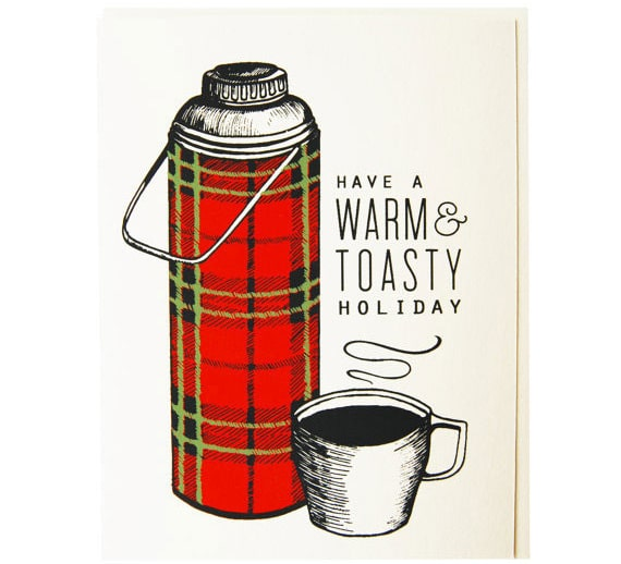 Thermos Christmas card from Flake's Paperie on etsy