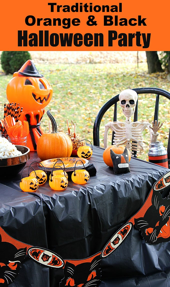A traditional Halloween party with orange and black decor including blow molds, vintage inspired Halloween decorations and Halloween party tips.