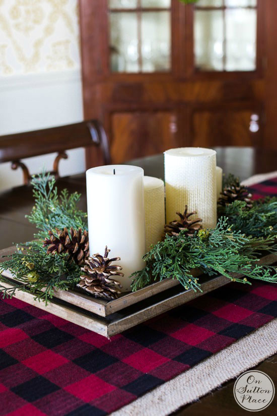 on sutton place bufffalo plaid table runner - Buffalo Check Christmas Decor