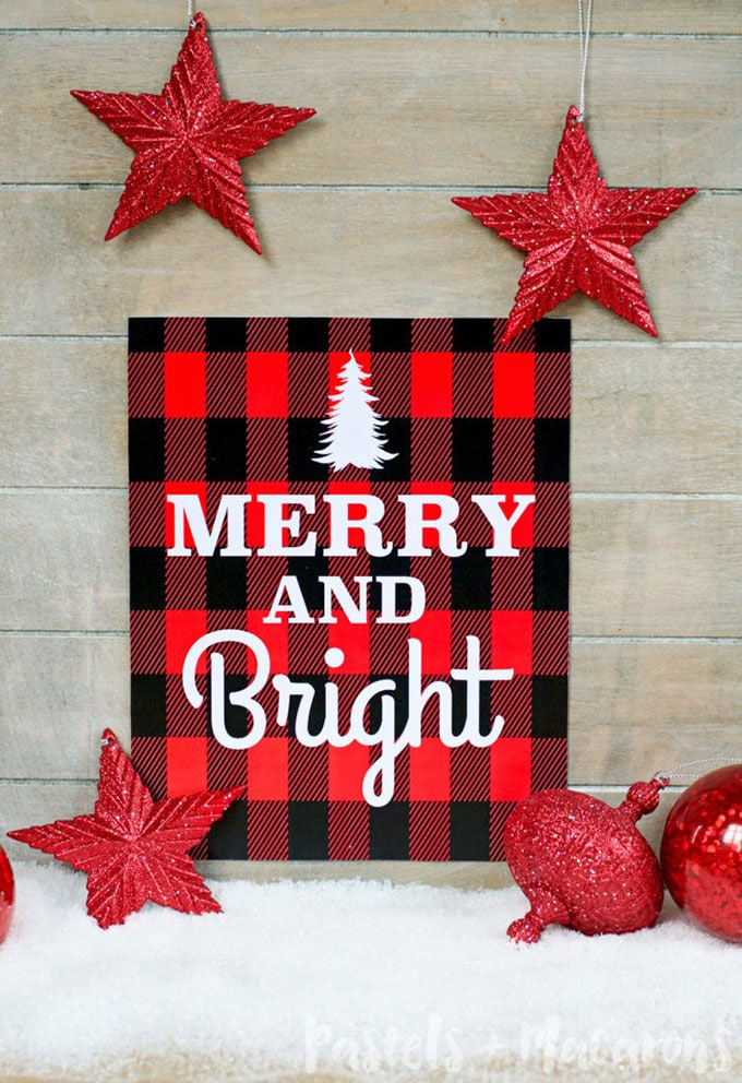pastels macaroons free christmas printable - Buffalo Plaid Christmas Decor