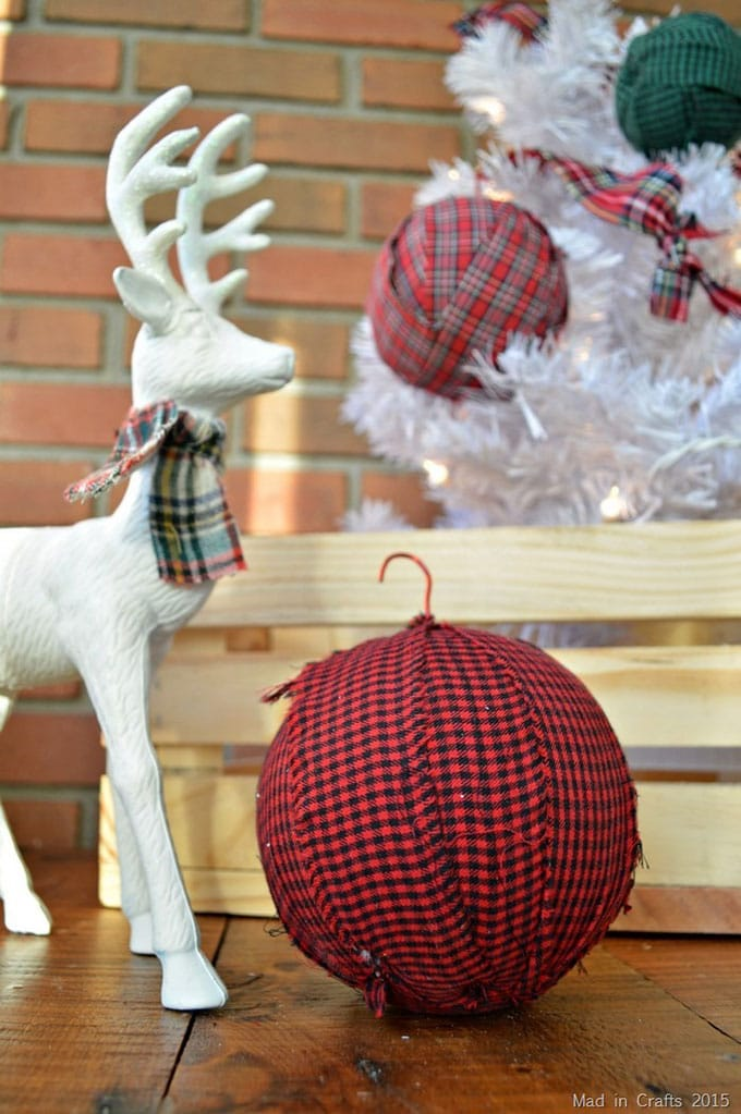 Mad In Crafts - plaid gingham rag ball ornament