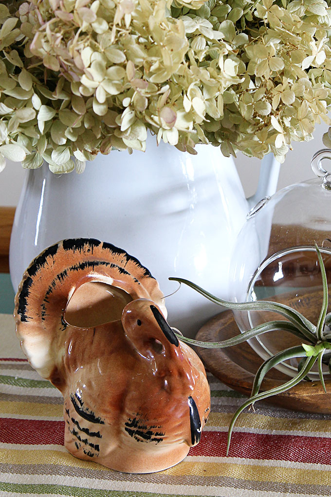 Vintage Thanksgiving turkey decor - Turkey planter