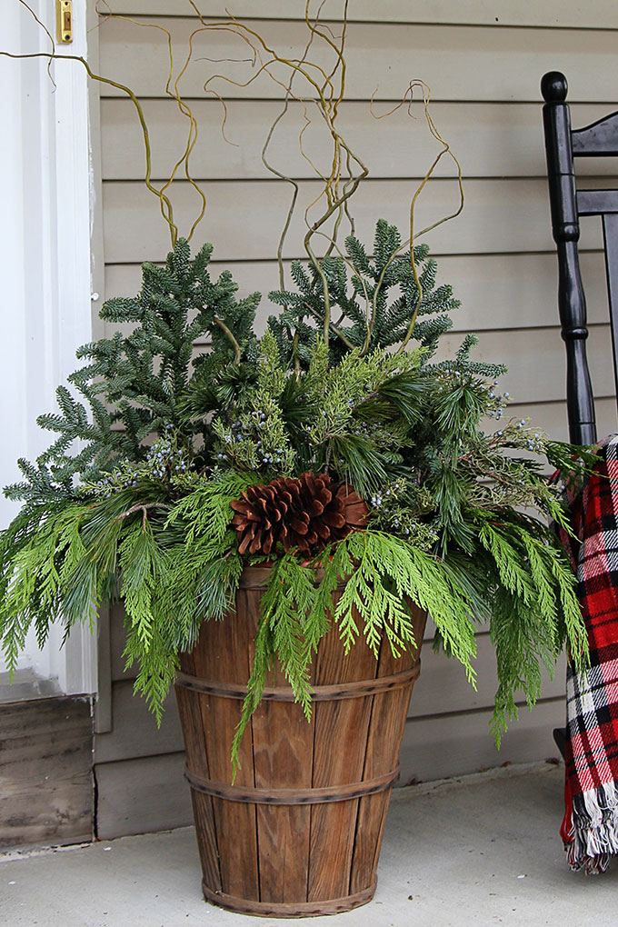 DIY Winter Porch Pots by House of Hawthornes