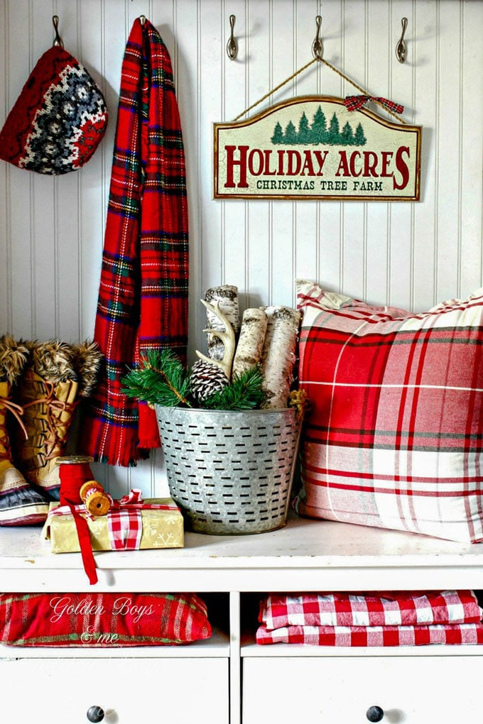golden boys me christmas entryway - Buffalo Plaid Christmas Decor
