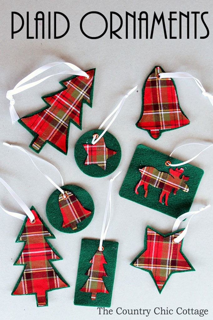 country chic cottage plaid ornaments - Tartan Plaid Christmas Decor