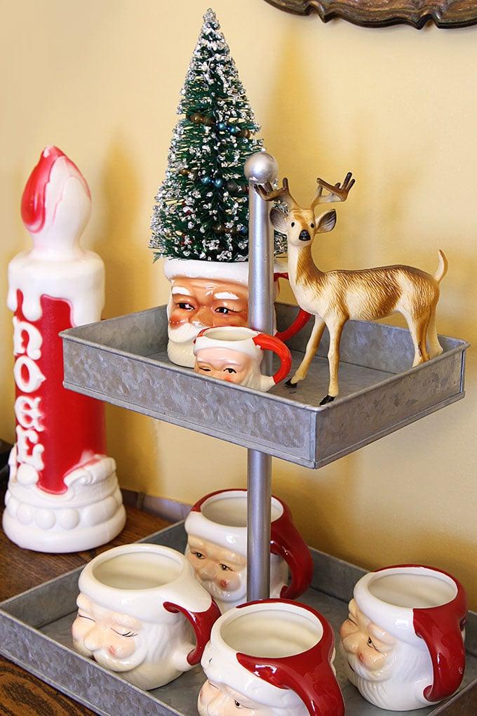 Christmas Santa mugs and bottlebrush tree