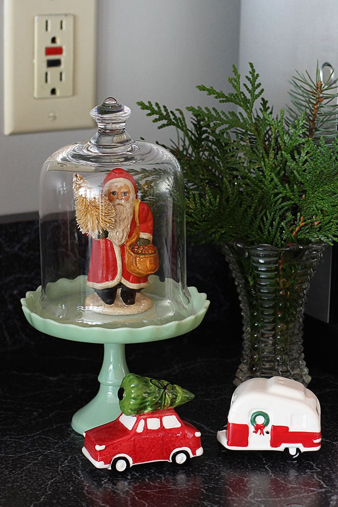 Pioneer Woman cupcake stand used at Christmastime