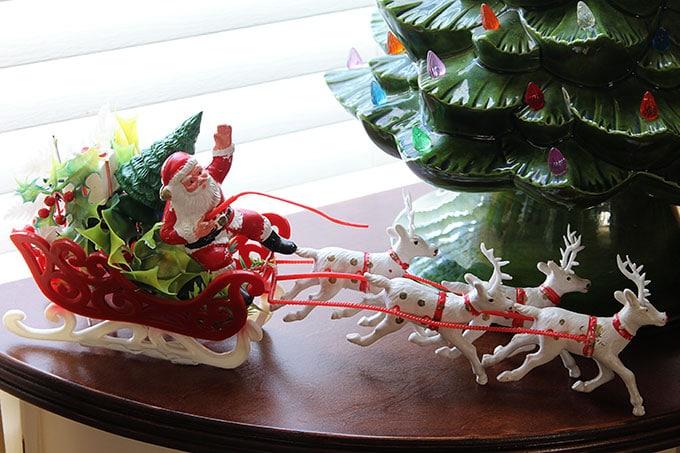 Retro plastic Santa in sleigh