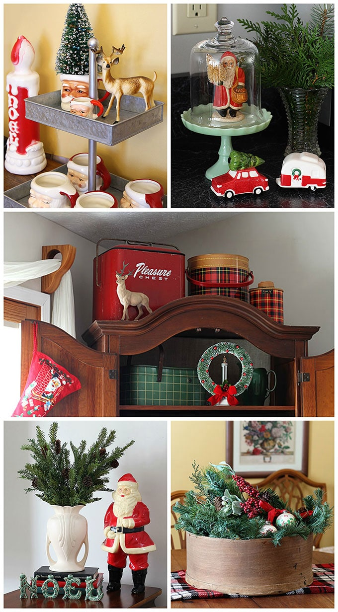 using my vintage farmhouse and retro christmas decor to decorate my home this holiday season - Vintage Farmhouse Christmas Decor