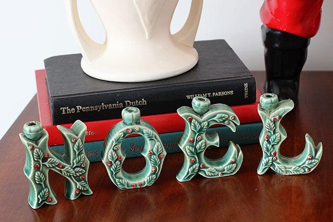 Vintage NOEL candle holders