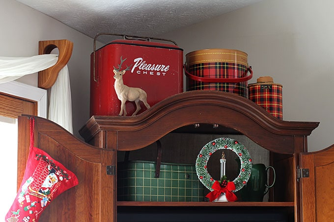 Vintage thermos decor used at Christmas