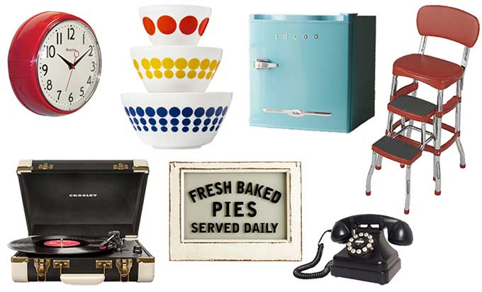 Lots of vintage inspired home decor including Pyrex, reproduction retro kitchen items and even farmhouse decor.