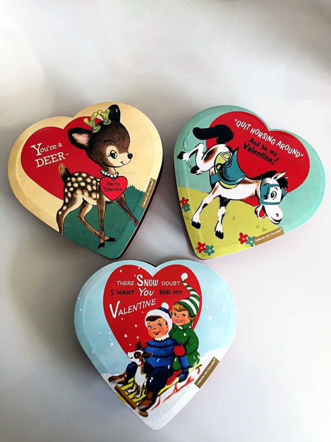 Vintage inspired Valentine's Day chocolate boxes