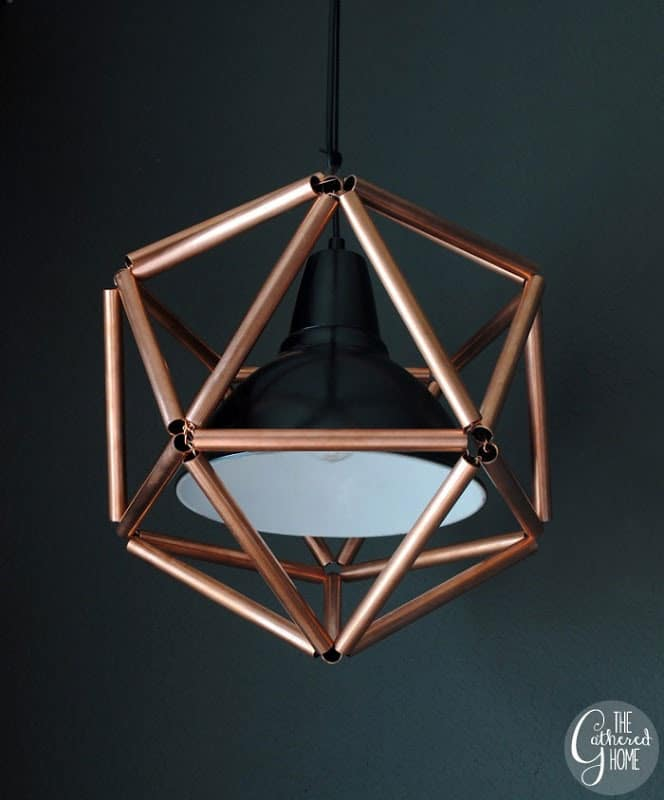 Copper pipe light fixture DIY