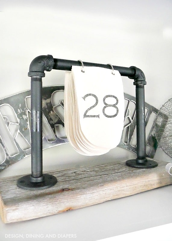 Industrial pipe desk calendar