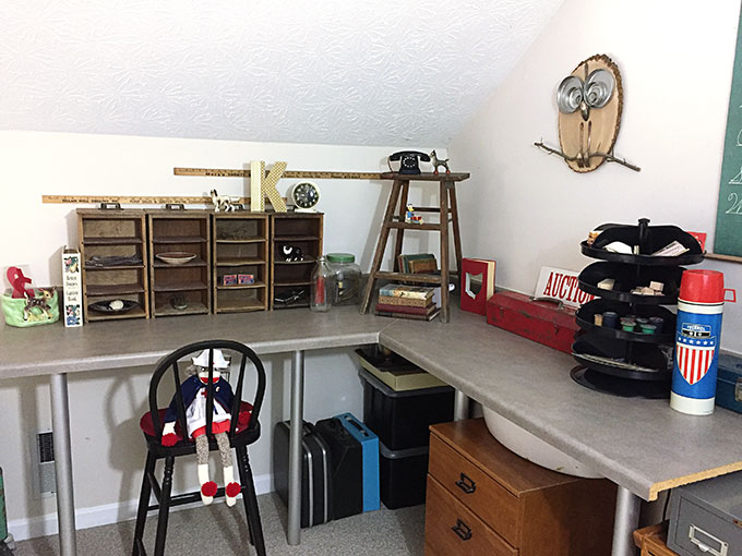 Home office organization - vintage style storage pieces