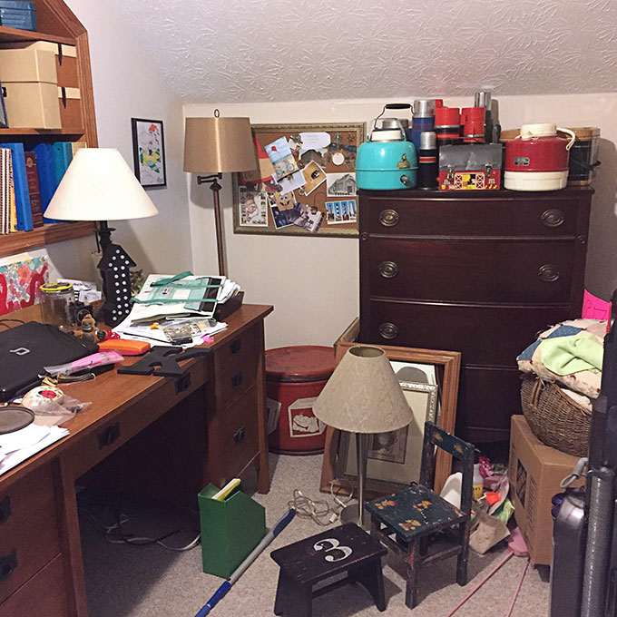 Messy office before organizing using the KonMari Method