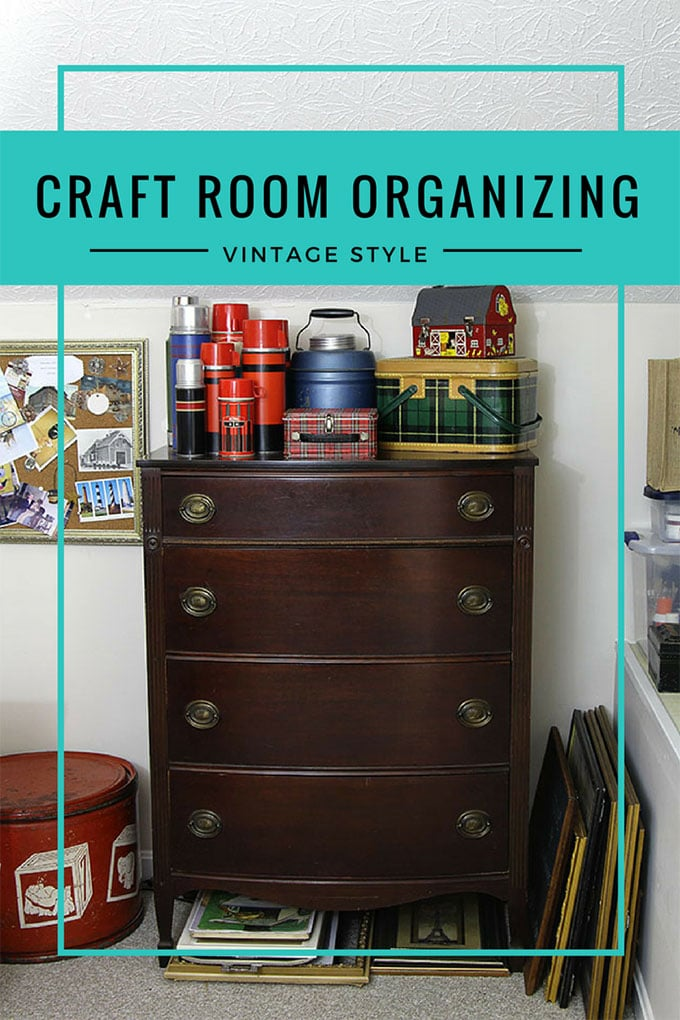 How to use thrift store and vintage items to organize your home office or craft room.