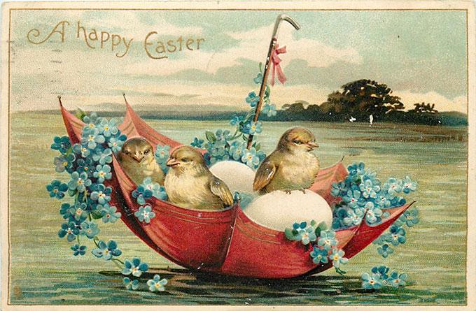 Vintage Easter images - printable Tuck postcard image - chicks floating in umbrella