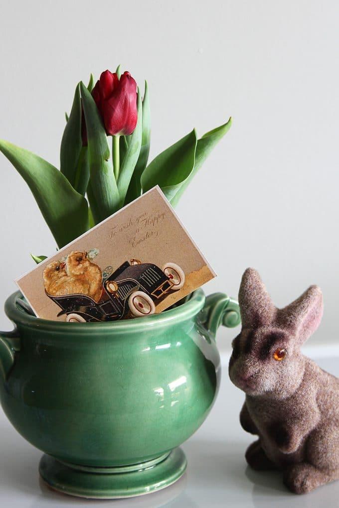 Vintage Easter postcard images tucked in flower pot