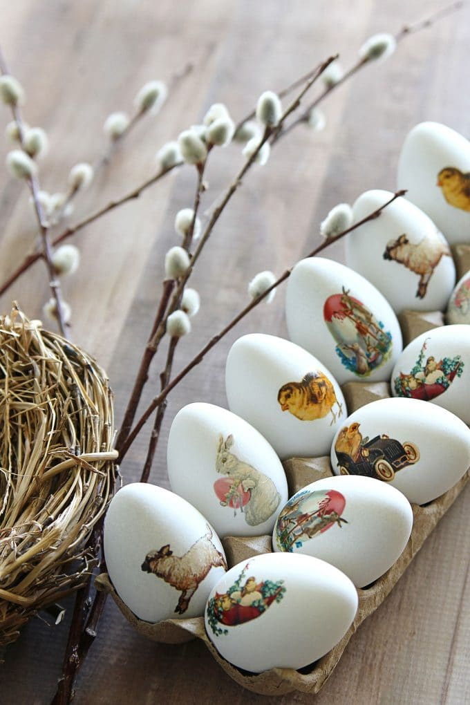 Easter eggs made easy with DIY temporary tattoos! Easy to follow tutorial and free printable vintage Easter images included.