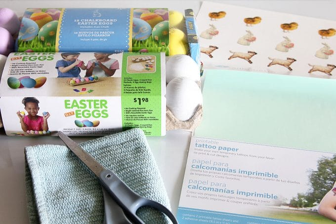 Supplies for making temporary tattoo Easter eggs