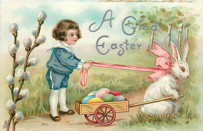 Vintage Easter images - printable Tuck postcard image - boy and Easter bunny