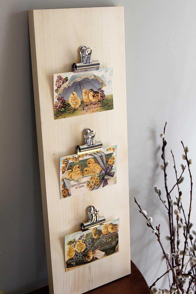 Simple DIY postcard display frame with an industrial farmhouse look