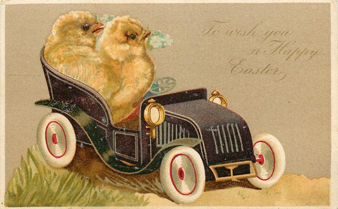 Vintage Easter images - printable Tuck postcard image - chicks driving car