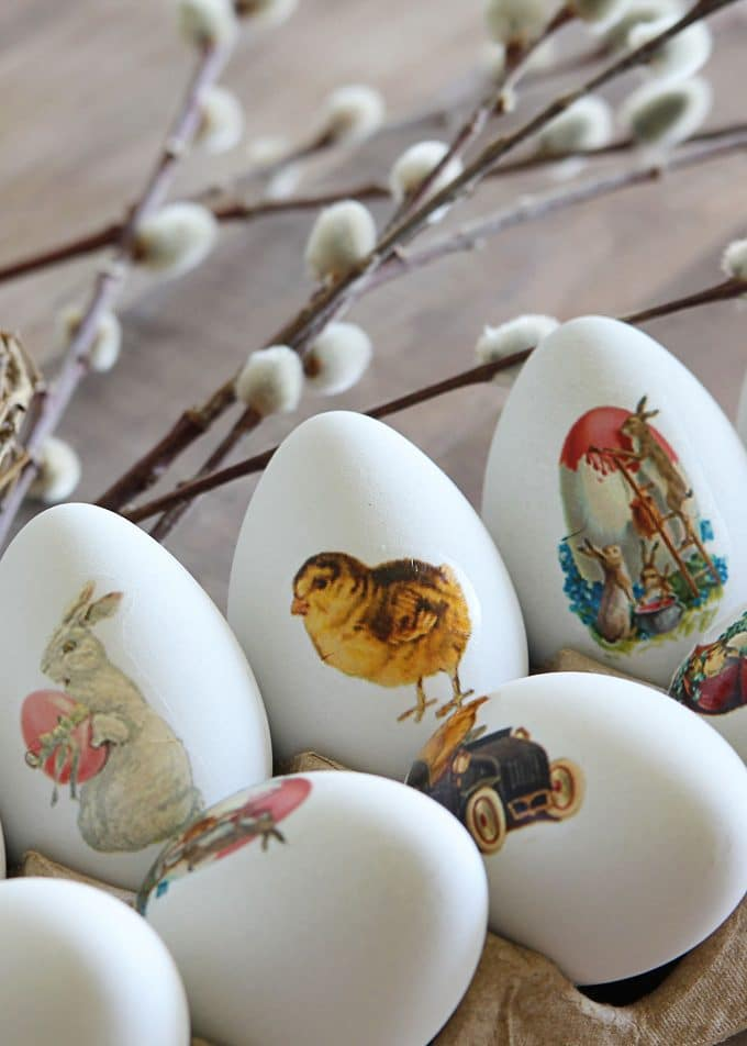 Vintage Easter images for super easy dye free Easter eggs.