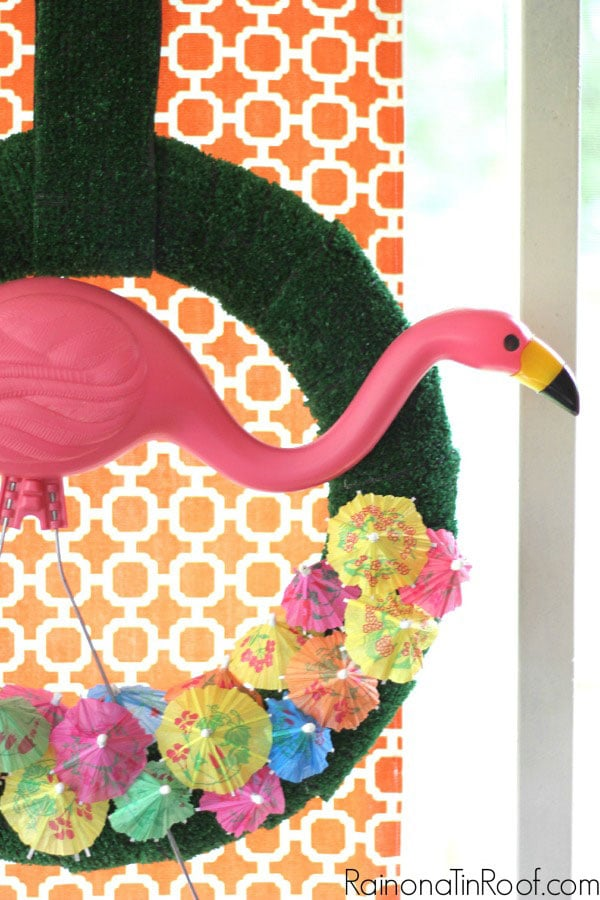 Flamingo wreath from Rain On A Tin Roof