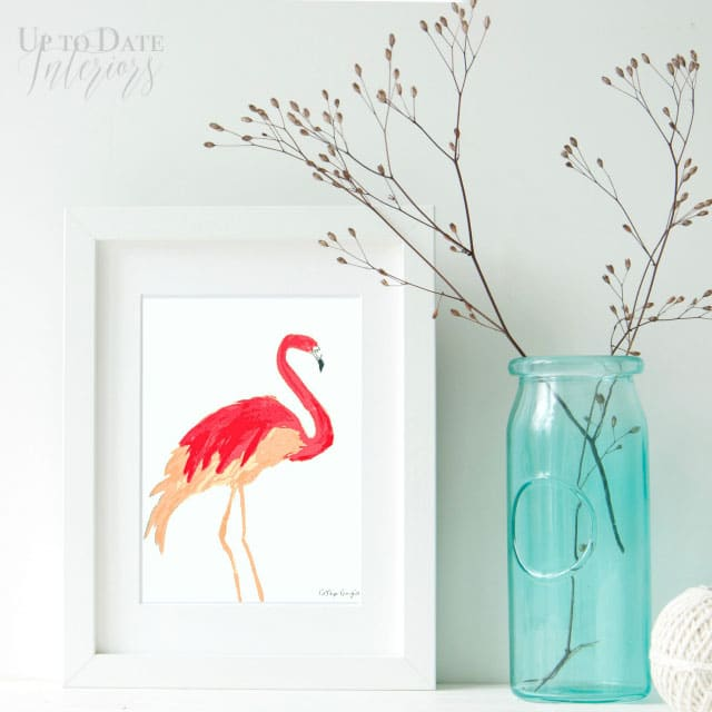 Printable flamingo print from Up To Date Interiors
