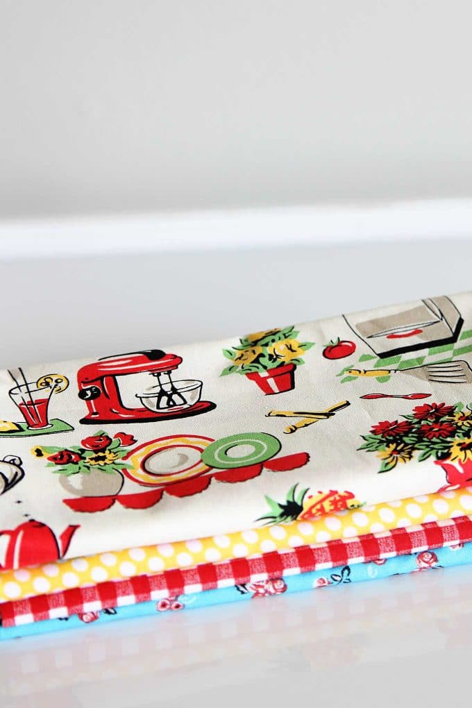 Retro looking fabrics for making beeswax food wrap