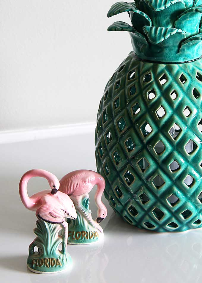 Vintage flamingo slat and pepper shakers and pineapple lantern