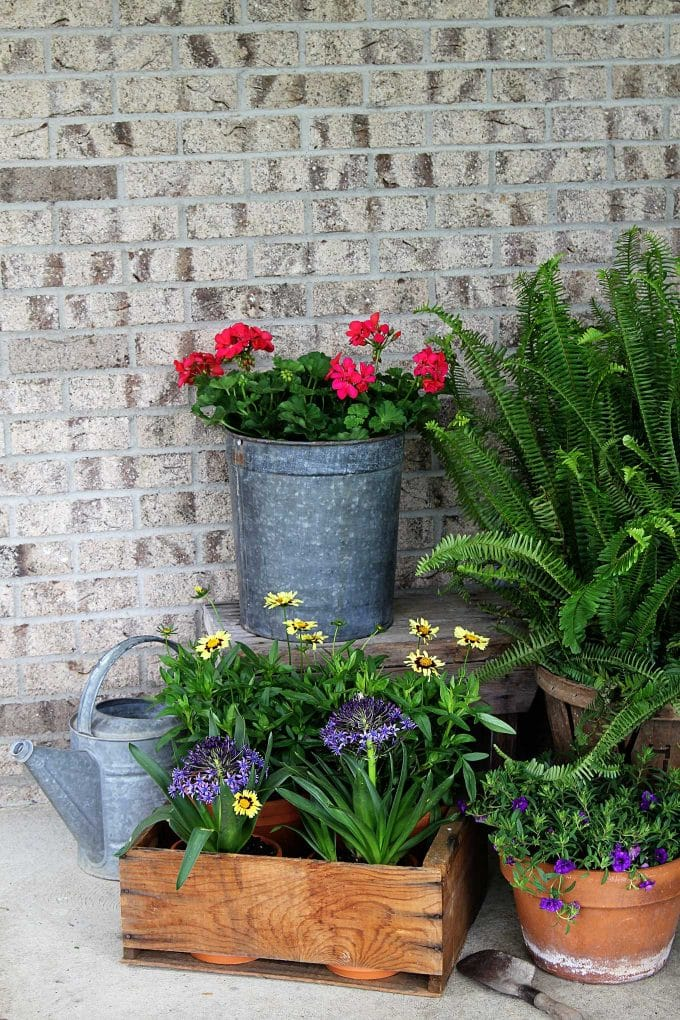 Using creative garden containers for your porch this summer is a great way to shake it up. Ditch the urns - use repurposed, rustic and thrifted planters.