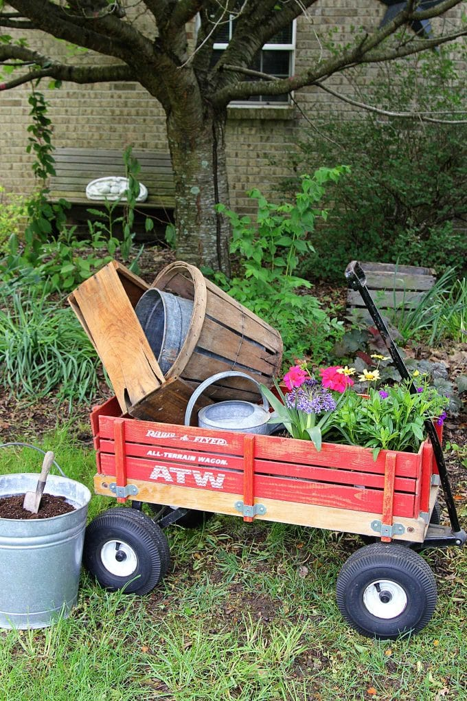 Hauling gardening supplies in a wagon