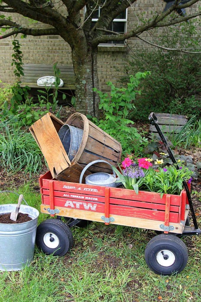 Hauling gardening supplies in a wagon