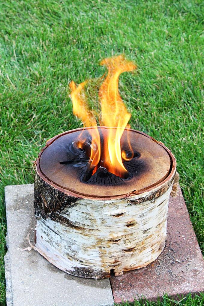 Burning a bonfire log