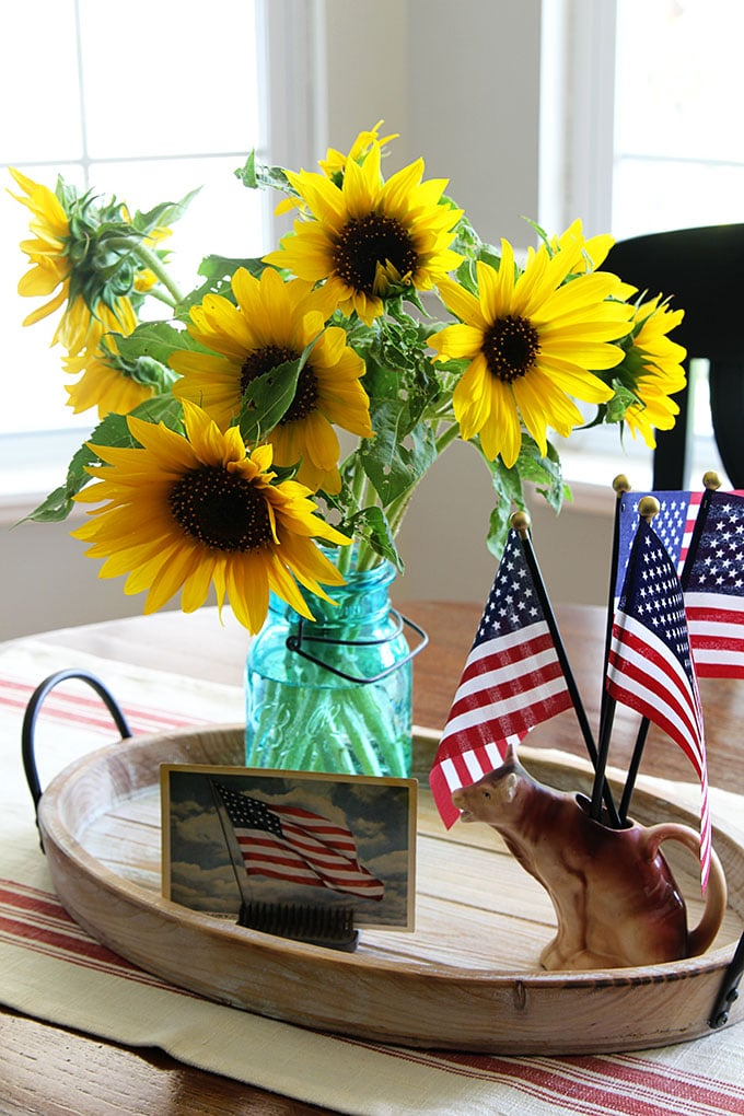 Sunflowers and flags used in a 4th of July display