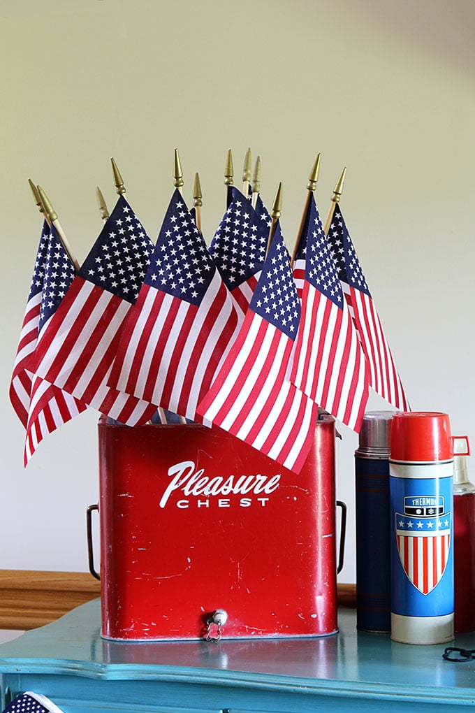 Vintage red Pleasure Chest with flags for 4th of July