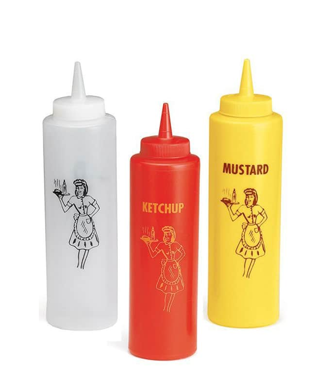Nostalgic condiment squeeze bottles for a picnic