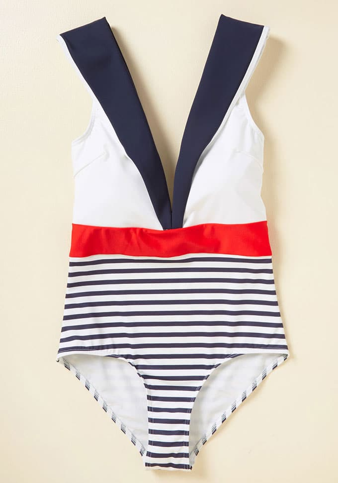 Vintage inspired nautical bathing suit for 4th Of July
