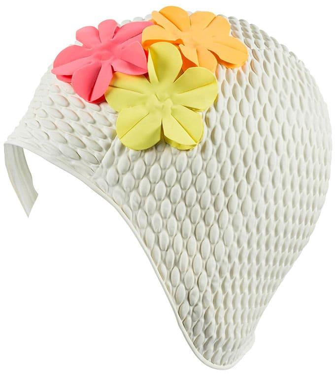 Vintage style swim cap with flowers