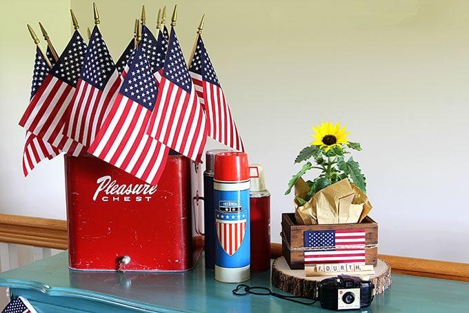 Patriotic vignette using vintage Thermoses