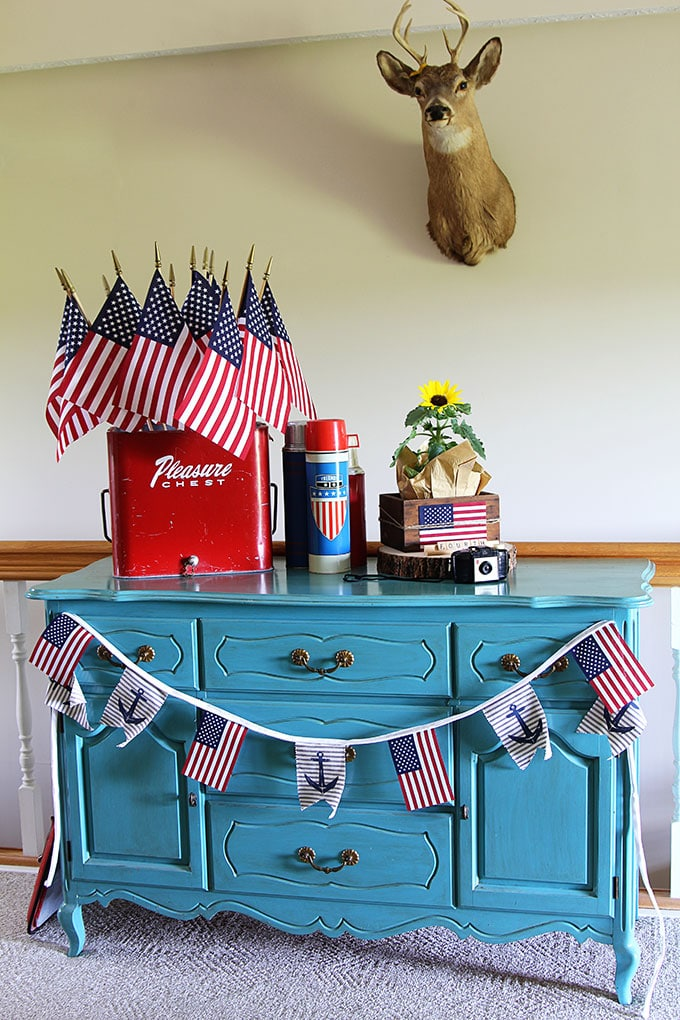 Vintage eclectic 4th of July display