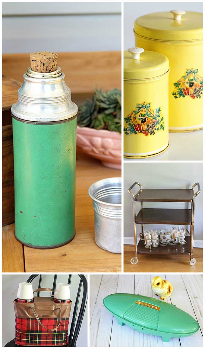 Weekend thrift store score including vintage plaid Thermos picnic set, mid-century modern rolling kitchen cart and lots more kitschy goodness.