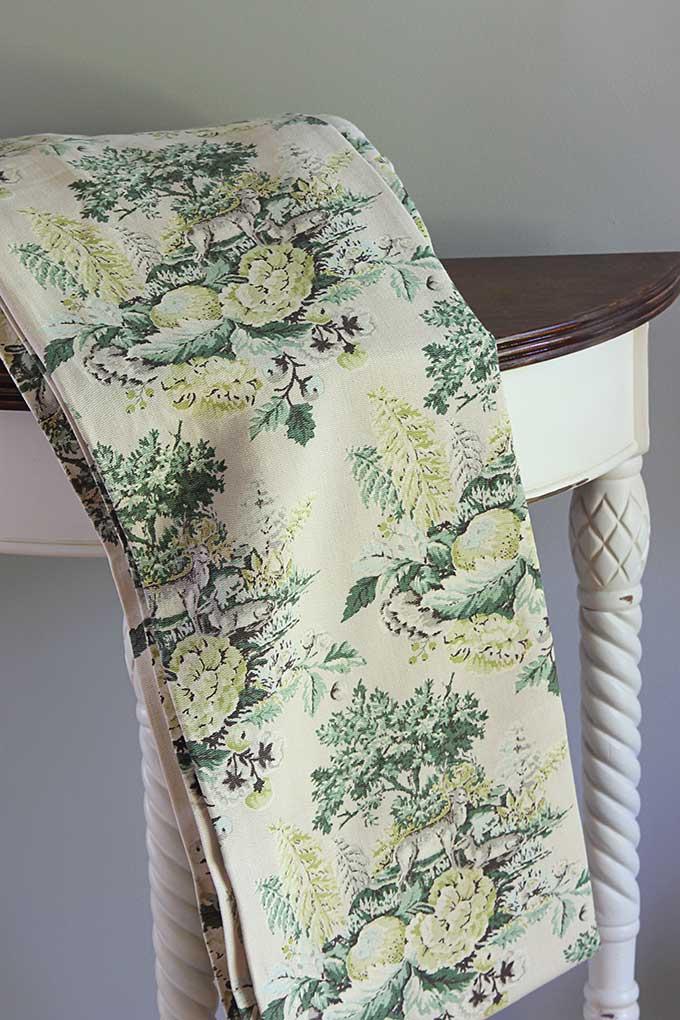 Vintage barkcloth curtains in deer cabin decor print
